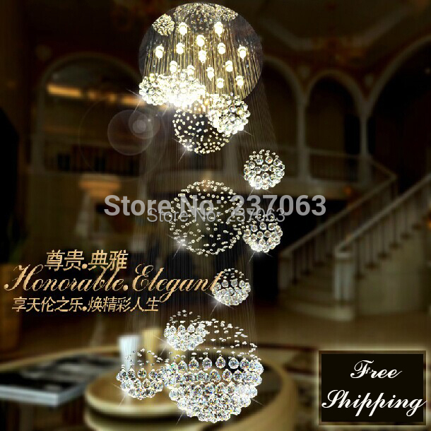 Free shipping Large modern crystal chandelier lighting fixture Dia80*H300cm lustres de sala stair lighting Guaranteed 100%<br><br>Aliexpress