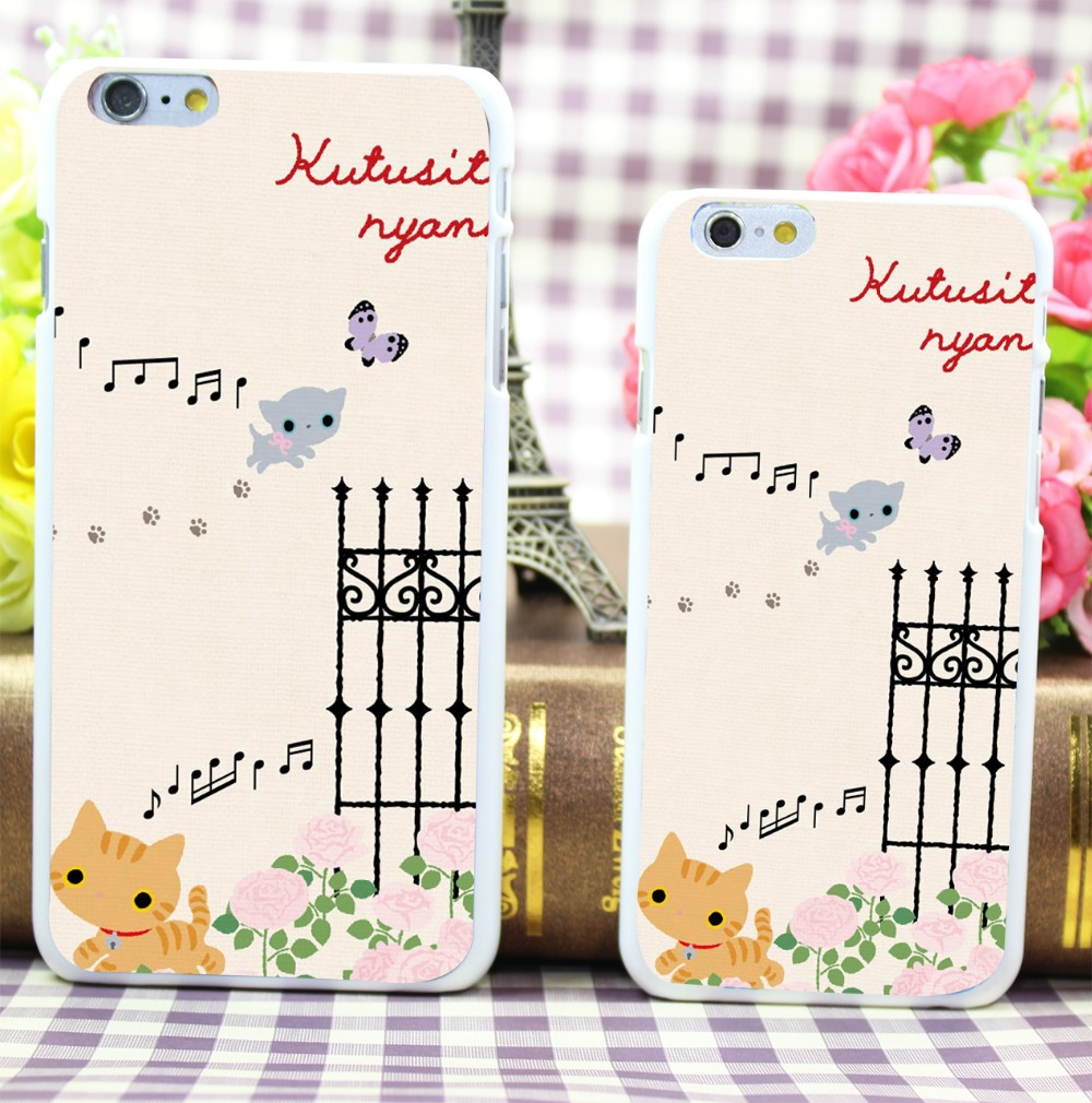 Kutusita Nyanko Hard White Case Cover for iPhone 6 6s 5 5s 5c 4 4s Phone Case Shell(China (Mainland))