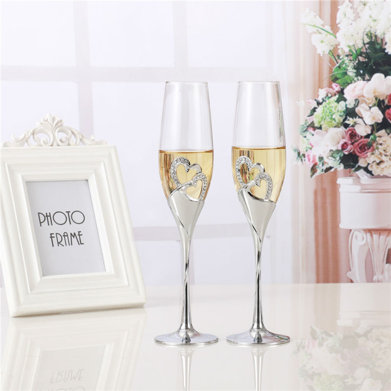 2 PCS / Set Crystal Wedding Toasting champagne flutes Glasses Cup Wedding Party marriage decoration cup for Gift Wine Drink(China (Mainland))