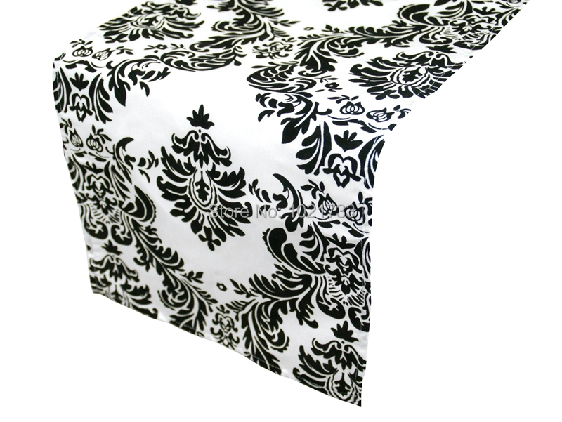 Black and white flocking table runner,damask table runner,30x275cm size,wedding,hotel,party and banquet tables decoration(China (Mainland))