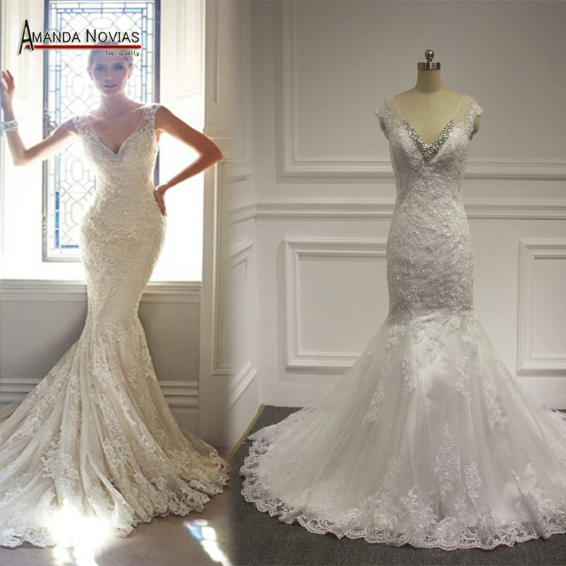 Hot Selling New Real Example beading Lace Appliques Mermaid Wedding Dress Vestidos De Noivas V-Neck Long Train Bride Gown(China (Mainland))