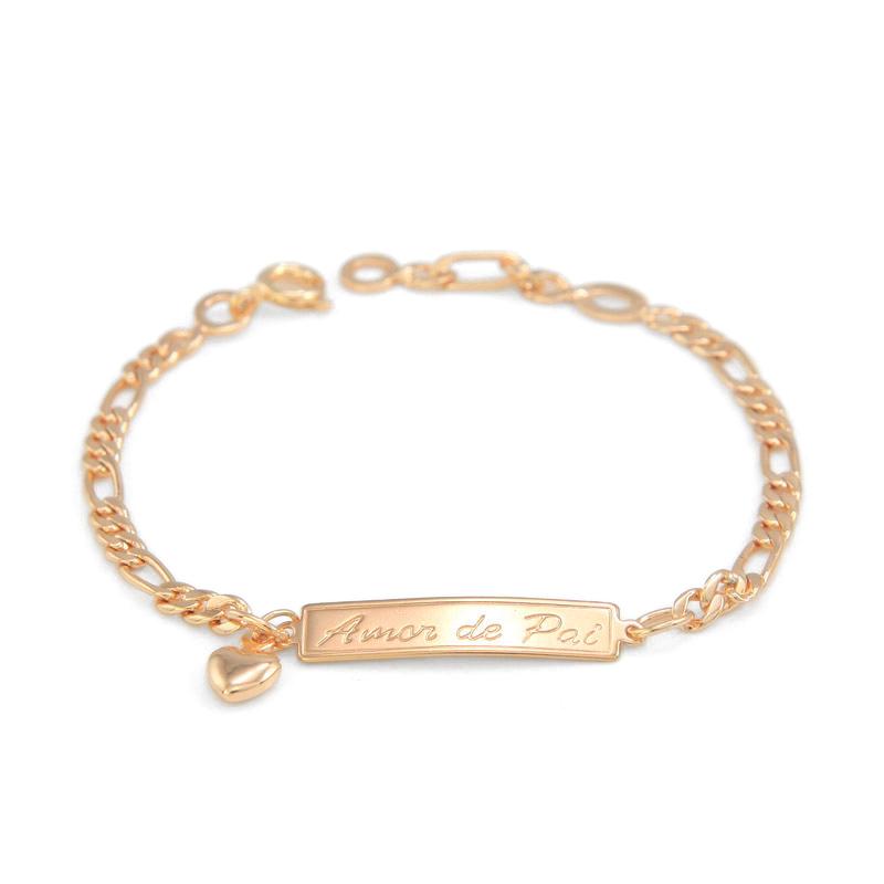 (Amor de Pai /Mae) 165MM Baby Bracelet Gold Kids Jewelry Heart Pulsera Bebe Bracelete Bracciali Nina Girls Boys Braclet BR18-39(China (Mainland))