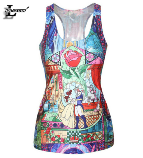 Top Sale Prince And Princess Printed Tank Top Fitness Women Harajuku Style Cute Girls Camisoles Fashion Elastic Sports Vest F79(China (Mainland))