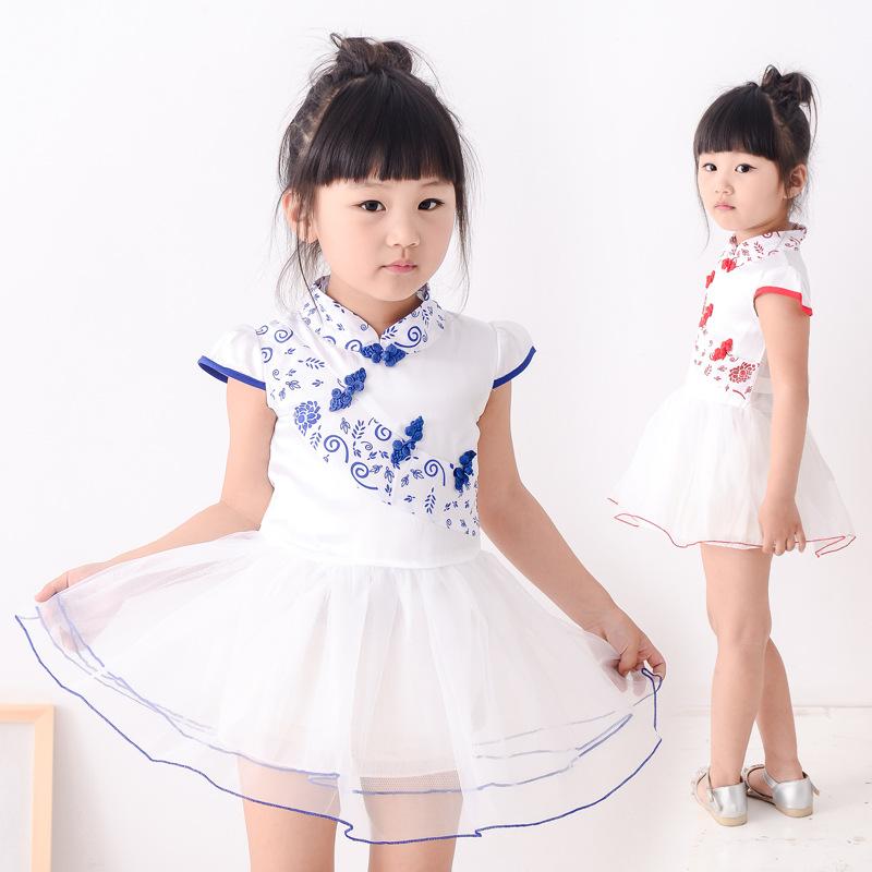 2017 New childrens party dress summer fashion blue red porcelain design girls sleeveless dress for kids wear princess dress(China (Mainland))