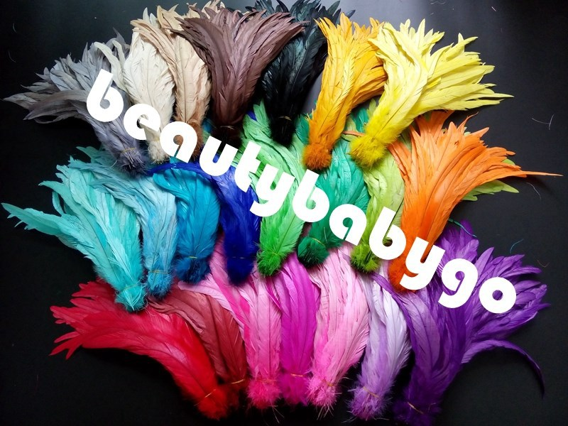 Free shipping 1000pcs/pack assorted colors rooster tail feathers 12-14 inches / 30-35cm cock tail feather(China (Mainland))
