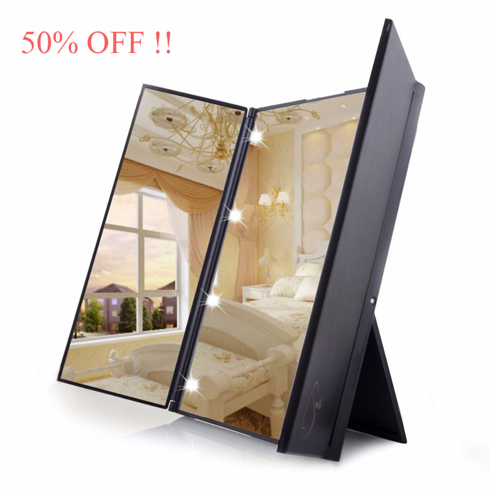 Promotion 50%OFF Portable Travel Tri-Fold Makeup Mirror with LED Light Compact Pocket Makeup Mirror Travel Fold Cosmetic Mirror(China (Mainland))