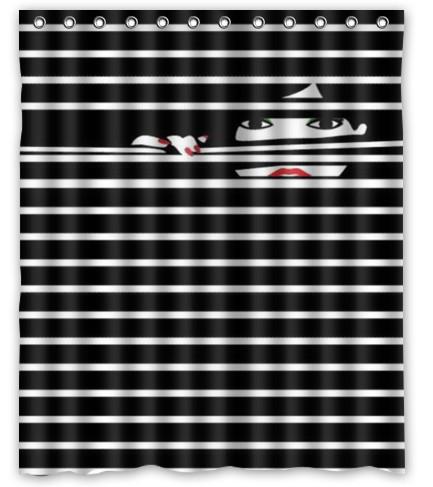 Buy Black And White Vertical Stripes Waterproof Bathroom Fab