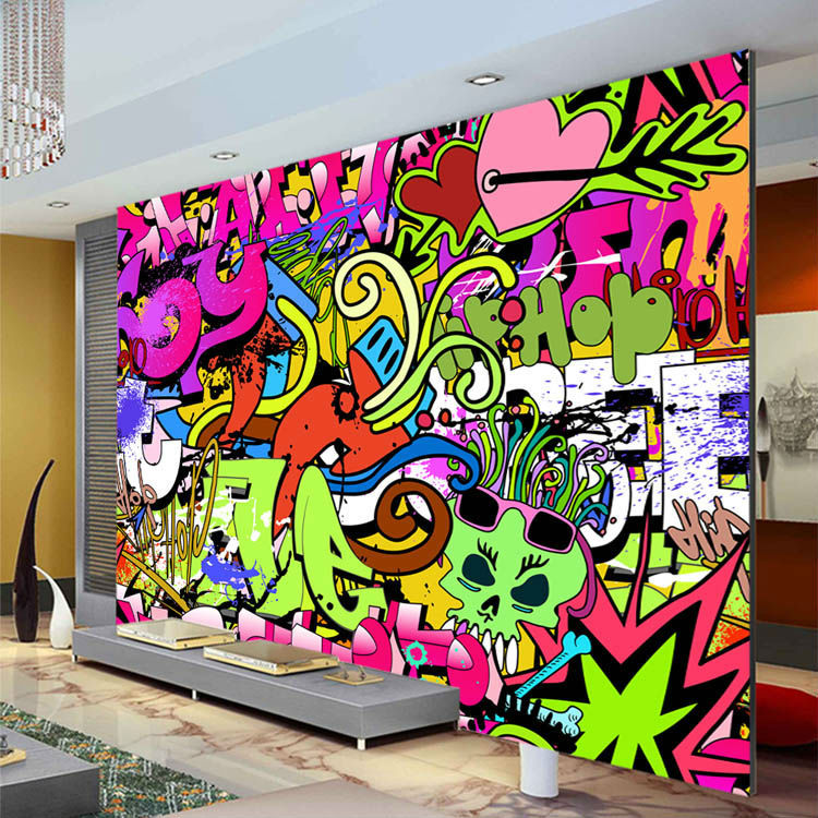 Graffiti boys urban art photo wallpaper custom wall mural for Mural art designs for bedroom