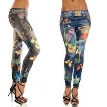 2016 Fashion Sexy Women Leggings Buttlefly Flower Printed Imitation Jeans Elastic Slim Punk Style Faux Denim Pencil Pants(China (Mainland))