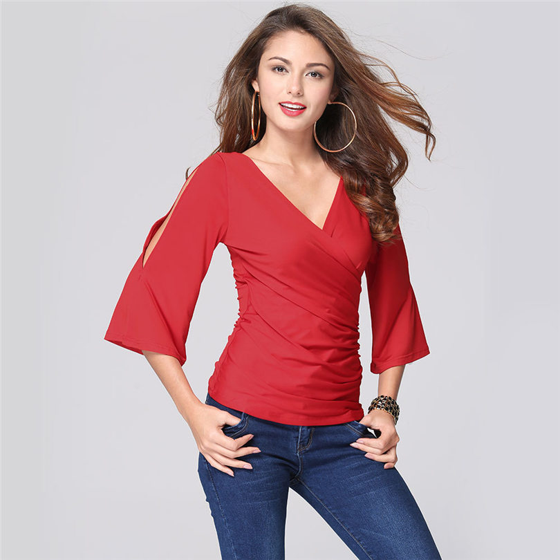 2016 Spring Summer Fashion Women Tops Regular V-neck Chiffon Shirt Solid Three Quarter Sleeve Pullover Clothing Slim Casual Tops(China (Mainland))