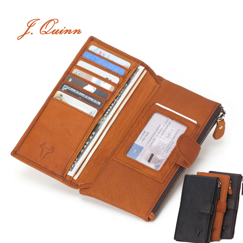 J.Quinn Long Wallets Zipper Purse Genuine Leather Wallet Men Coin Pocket Soft Fashion Hasp Solid Card Designer Mens Wallet New(China (Mainland))