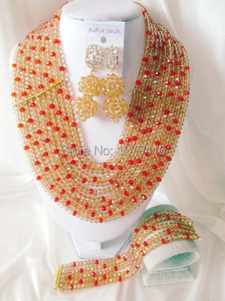 Fashion Nigerian African Wedding Beads Jewelry Set , Crystal Necklace Bracelet Earrings Set C0386<br><br>Aliexpress