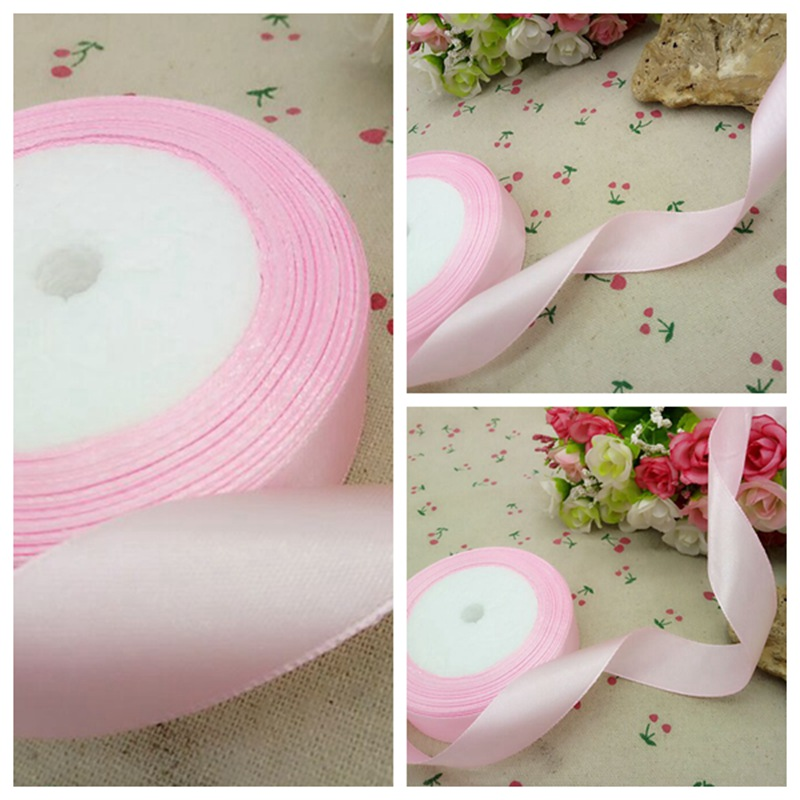 1reel (22 meters) 1 inch 25mm width pink weaving satin ribbon gift packing belt wedding decoration crafts A466 - Decoration shop 888 store