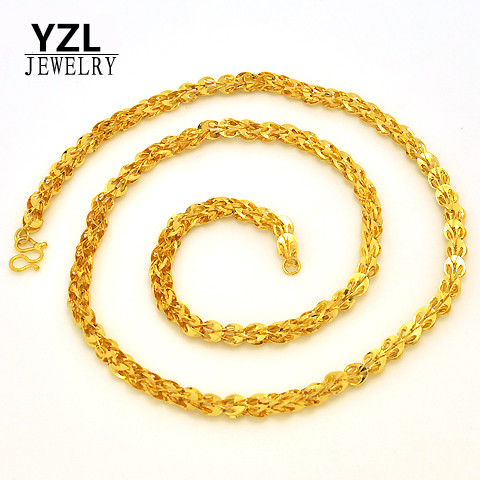 Womens Solid 24K Gold Plated  Real Yellow Gold Filled Phoenix Chain Necklaces Rough 6MM Elegant Jewelry For Lady <br><br>Aliexpress