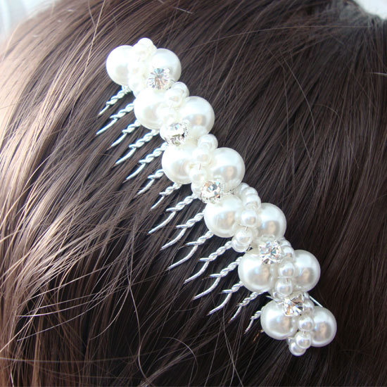 Fashion Romance Flower Bridal Hair Accessories Tuck Comb Wedding Jewelry Pearl Crystal Handmade Bridal Hair Comb(China (Mainland))