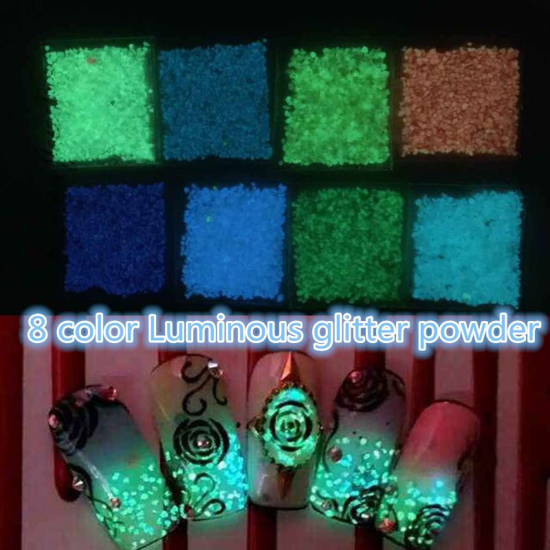 1 pack/lot New 8 Color Luminous Nail Glitter Powder Night Light Nail Decals Dust Torquoise Manicure Tips Glitter Decoration(China (Mainland))