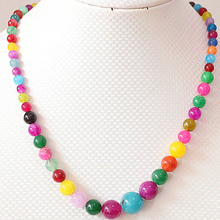 Buy 16 style chain tower necklace women natural stone dyed multicolor 6-14mm chalcedony round beads jewelry 18inch B617 for $8.39 in AliExpress store