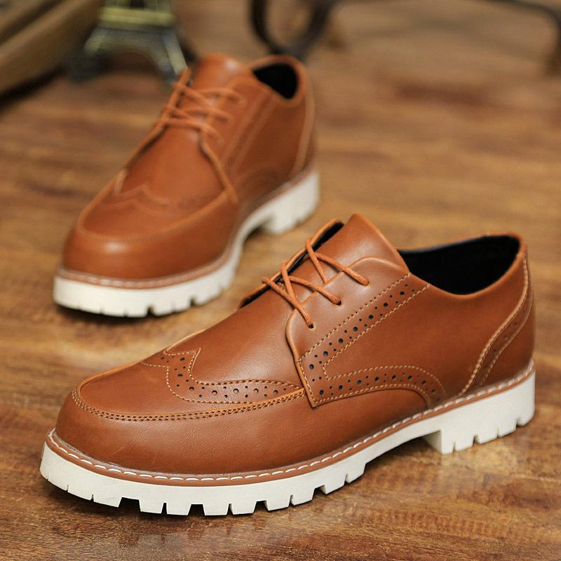 Branded Men Flat Shoes 2015 Designer Summer Lace Sneakers Black Brown Pu Leather Platform Flats Oxfords Brogue Dress Shoes Men(China (Mainland))