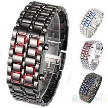 2013 nueva moda hombre mujer Lava Metal hierro Samurai LED Faceless reloj pulsera reloj de pulsera 0E93