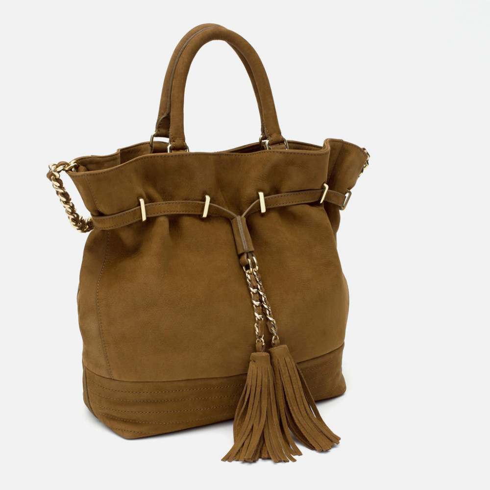 Здесь можно купить  2015 Fashion Ladies Brandy Large Suede LEATHER HOLDALL Handle and shoulder strap WITH CHAIN Strap with tassel Tote Handbags  Камера и Сумки