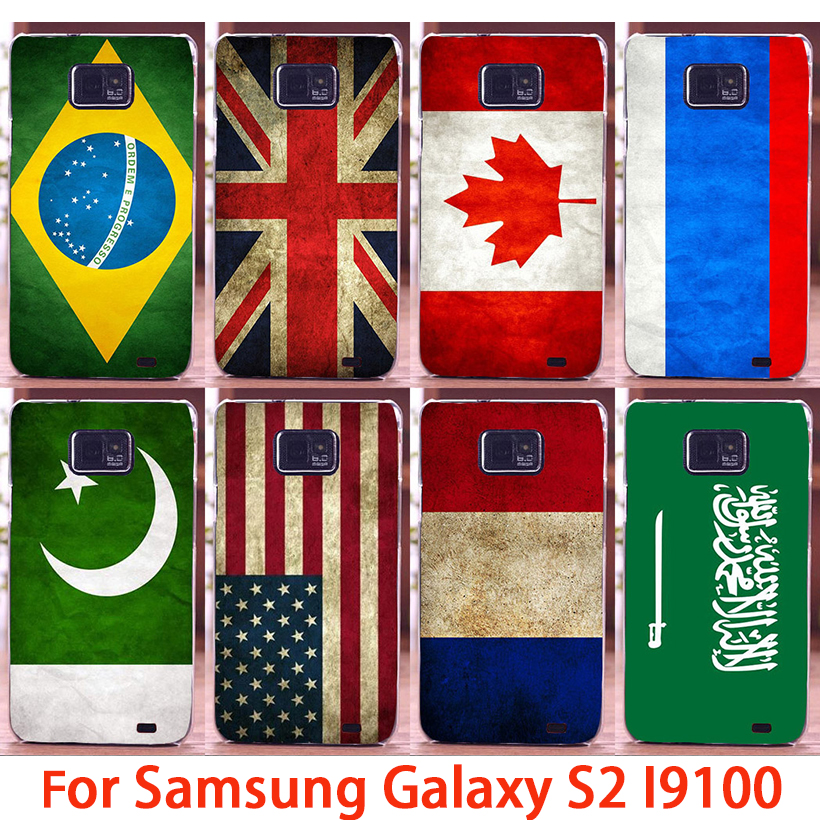 2016 new flag pattern Retro Canada UK USA France Italy Mobile phone case for Samsung Galaxy S2 SII I9100 hard Back Cover Shell(China (Mainland))