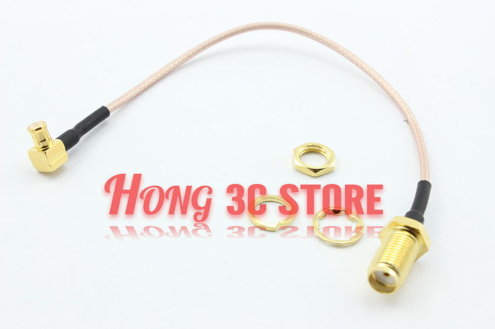 Free Shipping 10 pcs MCX Plug Right Angle to SMA Jack Straight Bulkhead Connector RG178 Extension Pigtail Cable 15cm<br><br>Aliexpress