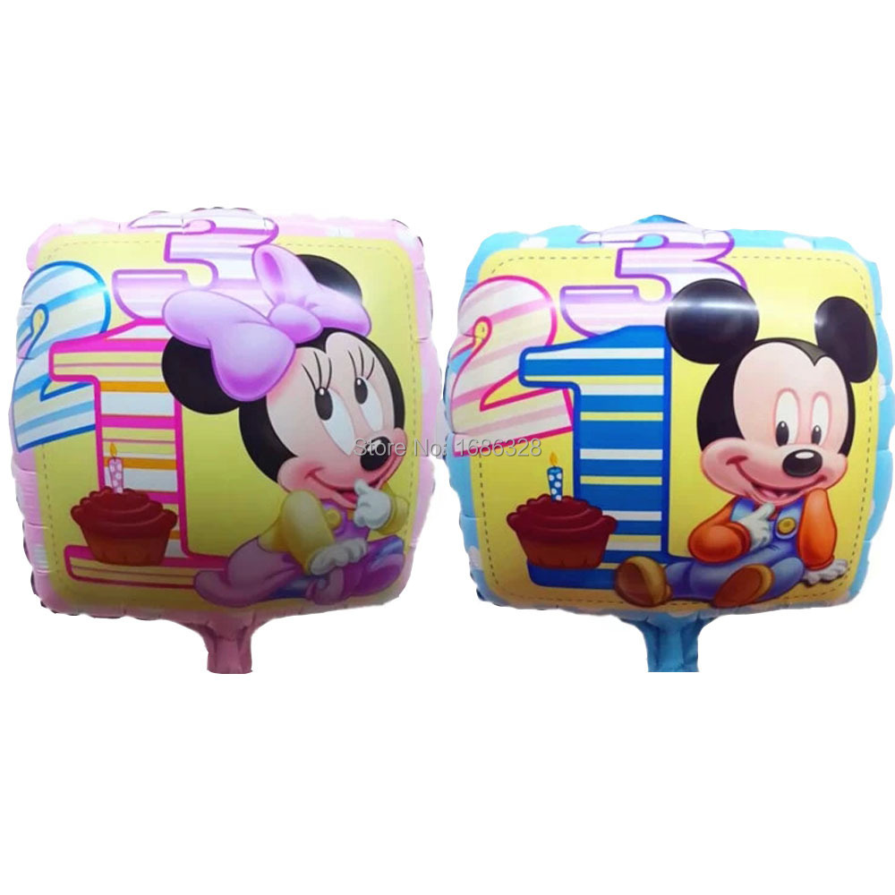 """18"""" Square Mickey Mouse Inflatable Foil Balloons Minnie Mouse Ball 1 Year Birthday Party Decoration Kids toys Air Balloon 10pcs(China (Mainland))"""
