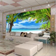 Modern home Custom 3D mural wallpape Sofa bedroom TV backdrop wallpaper mural painting Beach Coconut Grove wall mural paper(China (Mainland))