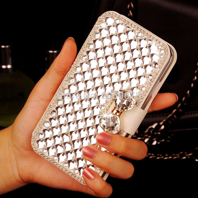 07 HQ Bling Crystal Diamond White PU Leather Wallet Case Cover ASUS X014D Zenfone Go 2016 ZB452KG ZB ZB452 452 452KG KG 4.5