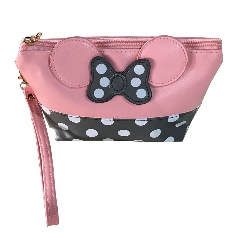 2017 Women PU Leather Butterfly Bow Wristlet Cosmetics Bags Fashion Small Makeup Bag Travel Pouch Free Shipping Top Quality P406