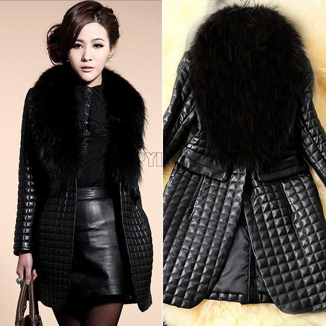 Elegant Lady Faux Fox Raccoon Fur Collar Leather Coat Winter Women's Jacket long Parkas Black Warm Outwear Overcoat PR065
