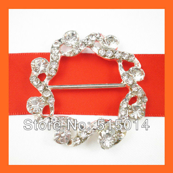 Free Shipping !100pcs  30mm bar Round Rhinestone Buckle ,Chair Sash Buckles ,Wedding Decoration