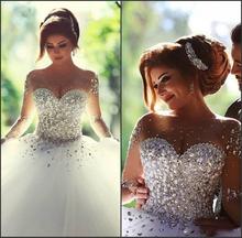 الكرة ثوب ثوب الزفاف 2015 vestidos دي noiva محضنسيج الأكمام فساتين الزفاف مع بلورات فساتين الزفاف الحلو(China (Mainland))
