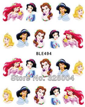 20sheets  Nail Stickers Nail art Water Transfers Decal Fruit Cartoon (The princess    ) Free Shipping  1pcs/card