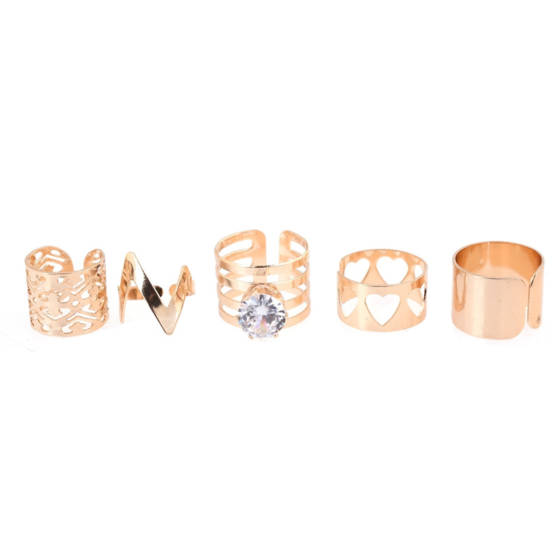 New Charming Rose Gold Crystals Cross Ring - Plain X Resizable Knuckle Armor Rings For Women Full Finger Ring Set = 5 Rings(China (Mainland))