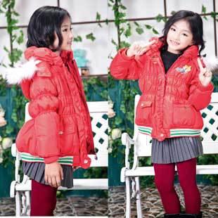 Kids Cute Winter Coats for Pretty Girls Jackets, Free Shipping A3033(China (Mainland))