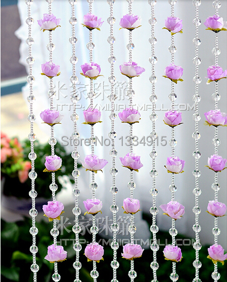 Free shipping Finished product 60m simulation flower cut crystal bead curtain can be customized crystal curtain porch partition(China (Mainland))