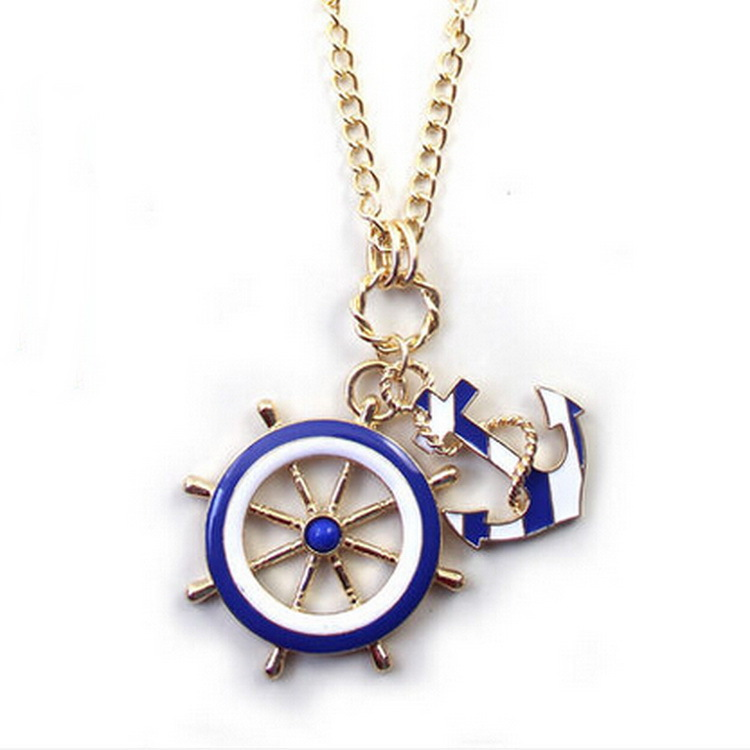 2014 New Hot Jewelry Fashion Texture Blue White Navy Style Anchor Rudder Exaggerated Personality Pendant Necklace Free Shipping(China (Mainland))