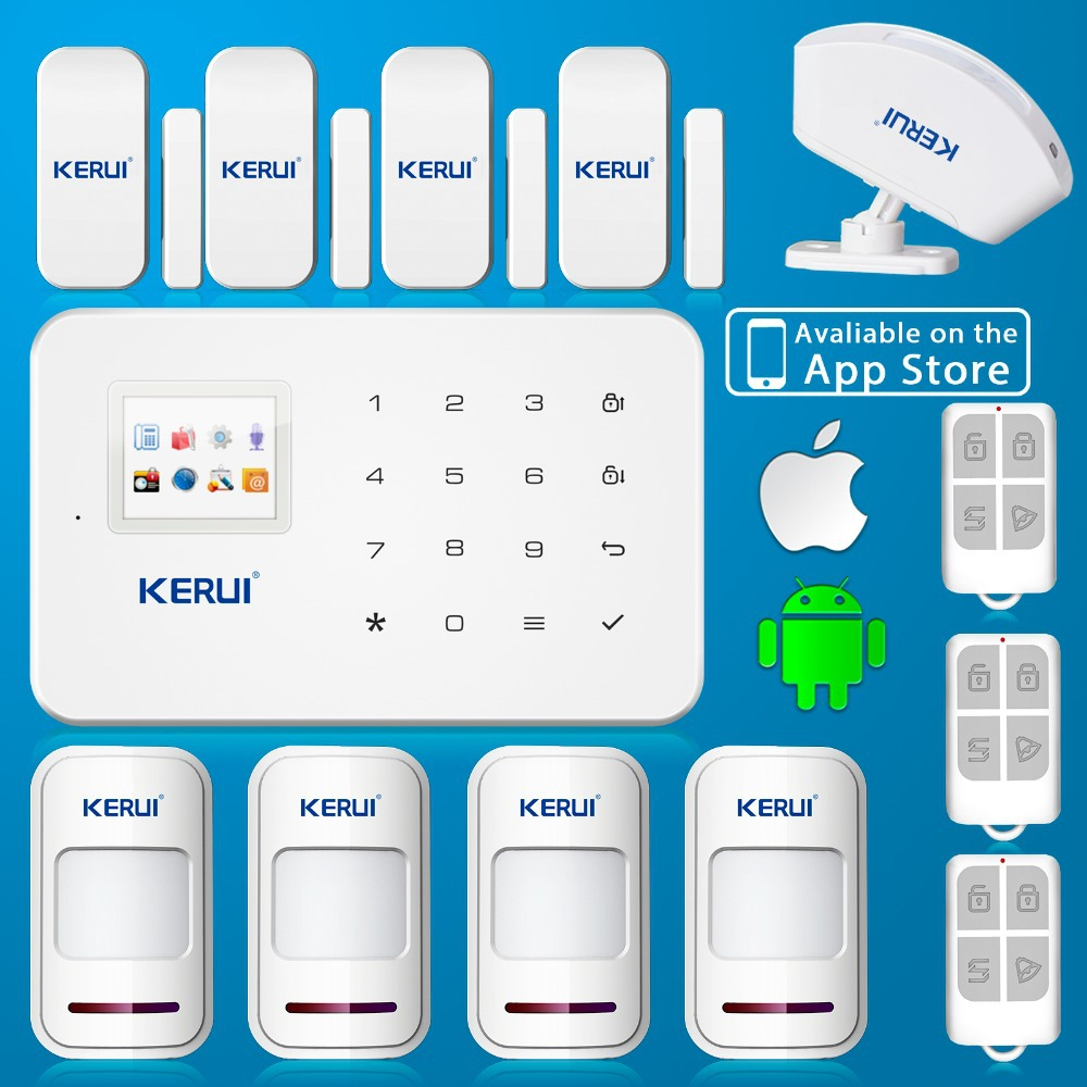 English Voice GSM Autodial Home Security Fire Alarm System+iOS App/ Android App Alarmes<br><br>Aliexpress