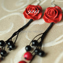 9213 handmade carved rose flower jewelry decoration, girls gifts for party, hot selling 2015 women earrings, Free Shipping(China (Mainland))