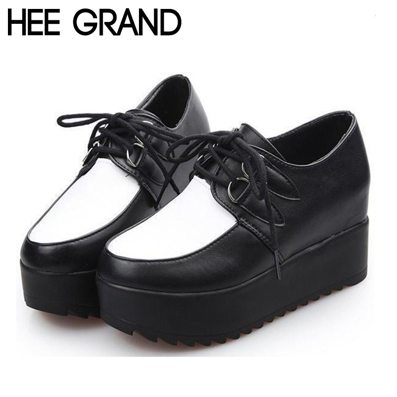 Women's Creepers 2015 Lace-up PU Stitching Solid Platform Fashion British Style Creepers Flats Boat Shoes Student Shoes