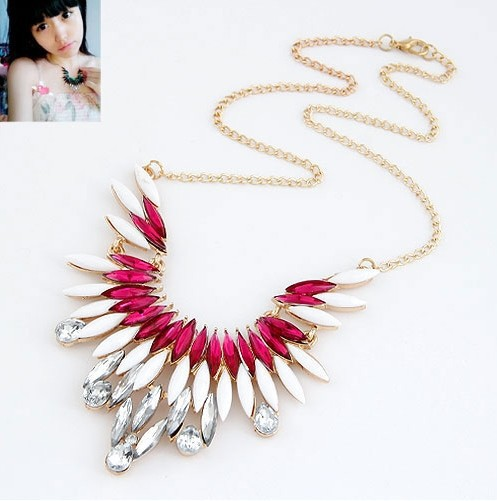 605 Trendy Necklaces Pendants Link Chain Collar Long Crystal Zircon Statement Bling Fashion Necklace Women Jewelry