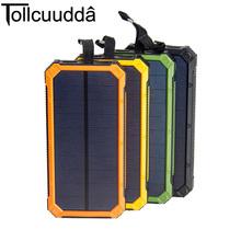 Buy Tollcuudda Solar Power Bank Dual USB Power Bank 10000mAh waterproof powerbank bateria external Solar Panel LED light for $20.99 in AliExpress store
