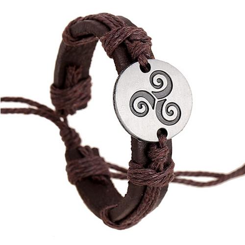 New 2015 Trendy Teen Wolf Triskele Bracelets Hemp Rope Adjustable Genuine Leather Strap Charm Bracelet Women Men Movies Jewelry