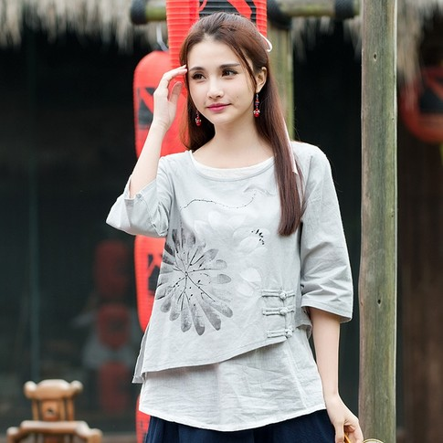 2016 Women Mexico style ethnic half sleeve o neck handmade frog grey blouse shirt top blusa Traditional Chinese clothing(China (Mainland))