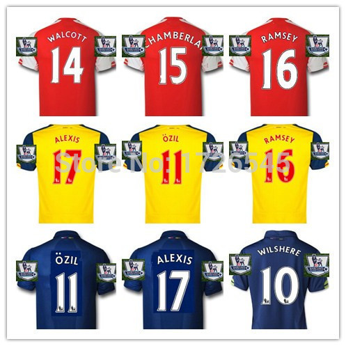 14 15 OZIL Soccer Jersey 2015 ALEXIS Football Shirt Home Red Away Yellow 3rd Navy Blue WELBECK Camisetas Futbol Champions League(China (Mainland))