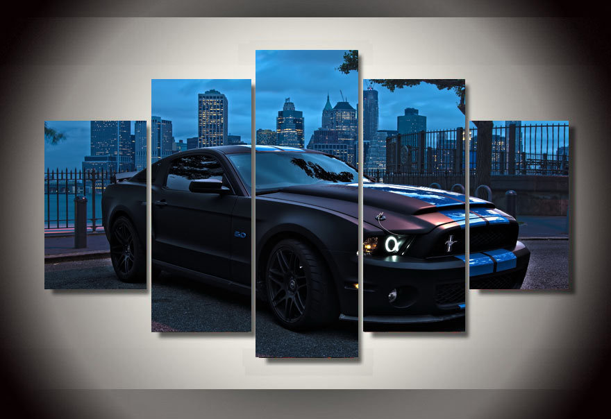 2016 High Quality Framed Printed Ford Mustang Group Painting Children'S Room Decor Print Poster Picture Canvas Free Shipping(China (Mainland))