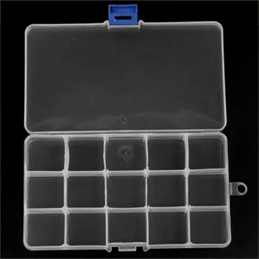Hot Worldwide 15 Slots Plastic Storage Box Case Home Organizer Earring Jewelry Container(China (Mainland))