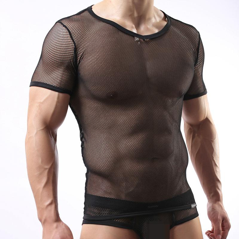 C11 Hot Men Sexy Mesh Lace Sheer Transparent Shirt Tops Exotic Sleepwear tshirt Undershirts