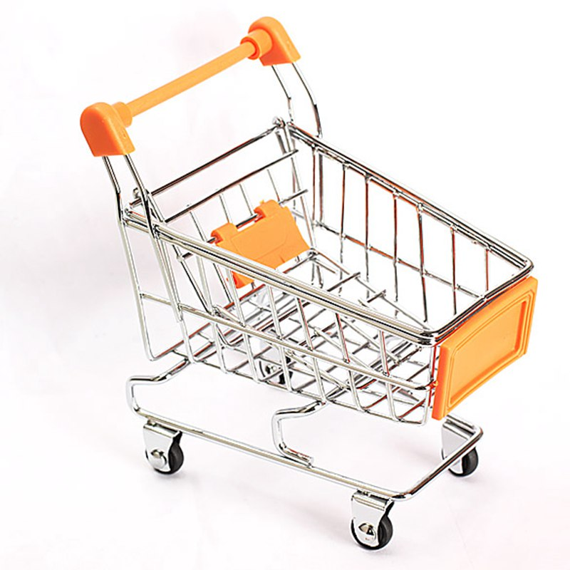 Mini Supermarket Handcart Shopping Utility Cart Mode Storage Orange Gift Shopping Cart Storage Toy(China (Mainland))
